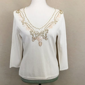 Jones NY Beaded & Sequin Embellished Ivory Top